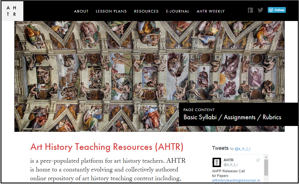 Art History Teaching Resources Screenshot