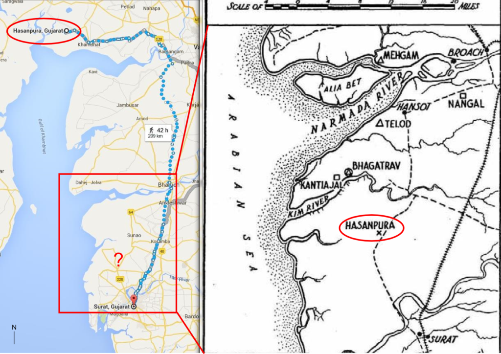 "Image shows two maps. Google map (left) shows location of ""Hasanpura"", north of the Narmada River. Inset (right) shows where the archaeologist marked the same named place, south of the Narmada River."