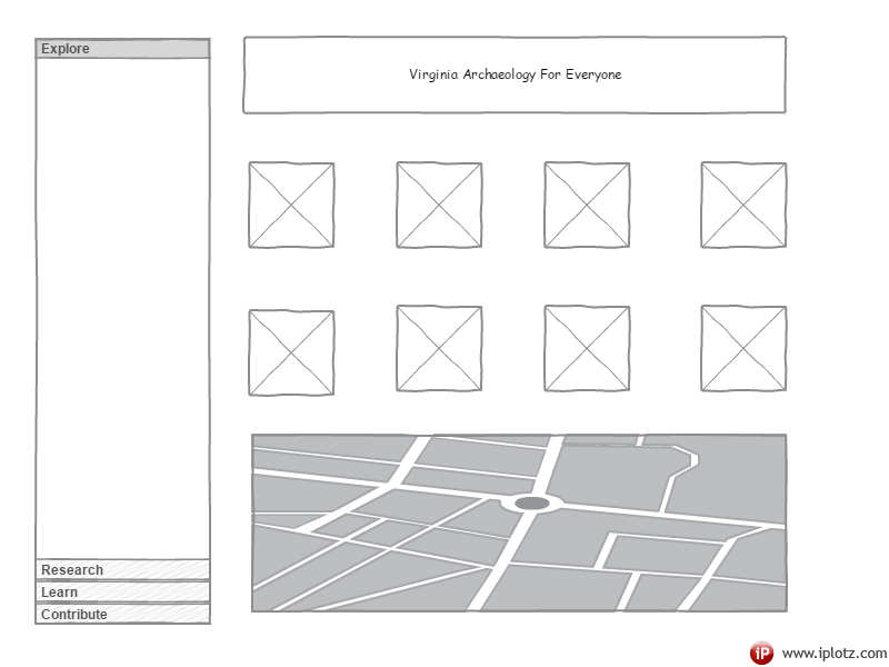 A wireframe example of the landing page showing collections and an interactive map